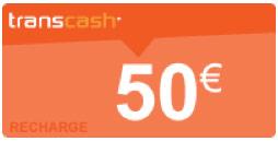 recharge transcash 50€